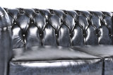 Chesterfield Canapé Original Cuir | 1 + 2 places | Antique Bleu | Garantie de 12 ans_