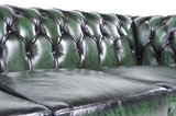 Chesterfield Canapé Original Cuir | 1 + 2 places | Antique Vert | Garantie de 12 ans_