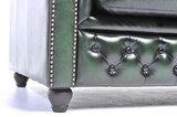 Chesterfield Canapé Original Cuir   2 + 3 places   Antique Vert   Garantie de 12 ans_
