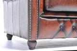 Chesterfield Canapé Original Cuir | 1 + 1 + 3 places | Antique Brun | Garantie de 12 ans_