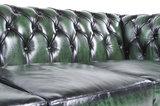 Chesterfield Canapé Original Cuir   1 + 1 + 3 places   Antique Vert   Garantie de 12 ans_