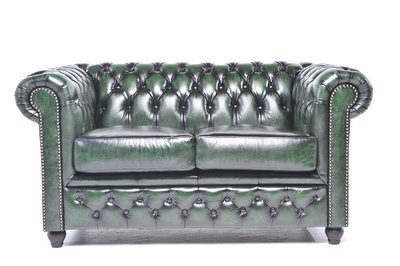 Chesterfield Original 2-places Antique Vert | Garantie de 12 ans