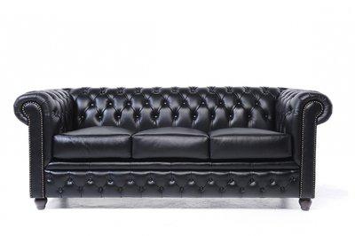 Chesterfield Canapé 3-sièges Noir | Garantie de 12 ans