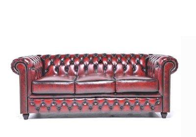 Chesterfield Original 3-places Antique Rouge | Garantie de 12 ans