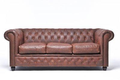 Chesterfield Vintage 3-sièges Brun   Garantie de 12 ans