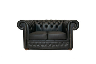Chesterfield Canapé First Class 2-places Noir | Garantie de 5 ans
