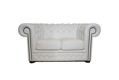 Chesterfield Canapé First Class 2-places Blanc | Garantie de 5 ans