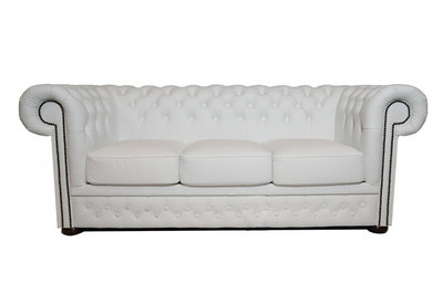 Chesterfield Canapé First Class 3-places Blanc | Garantie de 5 ans