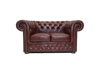 Chesterfield Canapé First Class 2-places Cloudy Rouge | Garantie de 5 ans