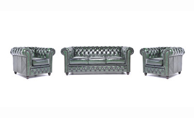 Chesterfield Canapé Original Cuir | 1 + 1 + 3 places | Antique Vert | Garantie de 12 ans