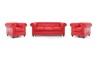 Chesterfield Canapé Original Cuir | 1 + 1 + 3 places | Rouge | Garantie de 12 ans