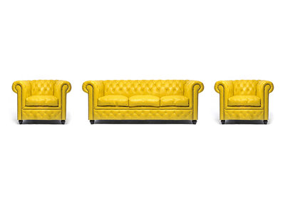 Chesterfield Canapé Original Cuir | 1 + 1 + 3 places | Jaune | Garantie de 12 ans