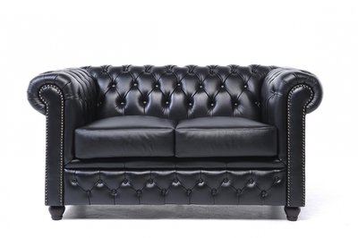 Chesterfield Origine 2-Places Canapé Noir | Garantie de 12 ans