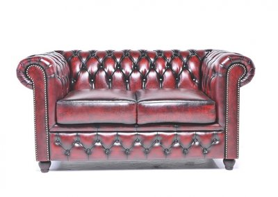 Chesterfield Origine 2-Places Canapé Antique Rouge | Garantie de 12 ans