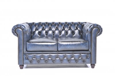 Chesterfield Origine 2-Places Antique Bleu | Garantie de 12 ans