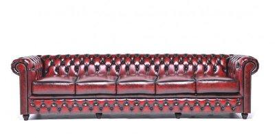 Chesterfield Original 5-places Antique Rouge | Garantie de 12 ans