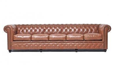 Chesterfield Vintage 5-sièges Mocha | Garantie de 12 ans