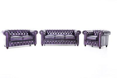 Chesterfield Canapé Original Cuir   1 + 2 + 3 places   Antique Violet   Garantie de 12 ans