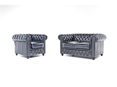 Chesterfield Canapé Original Cuir | 1 + 2 places | Antique Bleu | Garantie de 12 ans