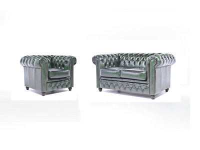 Chesterfield Canapé Original Cuir | 1 + 2 places | Antique Vert | Garantie de 12 ans