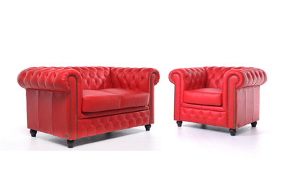 Chesterfield Canapé Original Cuir | 1 + 2 places | Rouge | Garantie de 12 ans