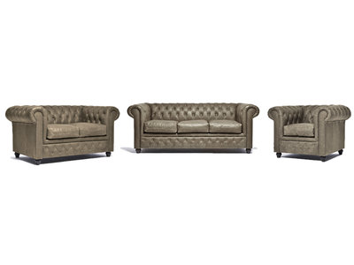 Chesterfield Canapé Vintage Cuir | 1 + 2 + 3 places | Alabama C1057| Garantie de 12 ans