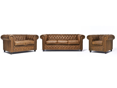 Chesterfield Canapé Vintage Cuir | 1 + 2 + 3 places | Alabama C1059| Garantie de 12 ans