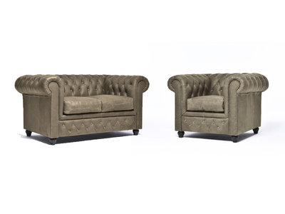 Chesterfield Canapé Vintage Cuir | 1 + 2 places | Alabama C1057| Garantie de 12 ans