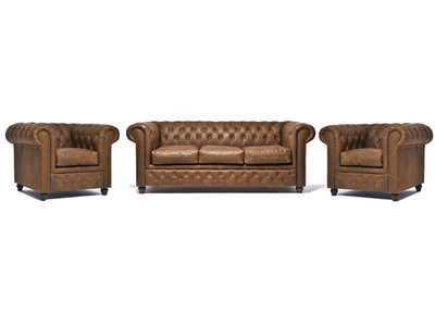 Chesterfield Canapé Vintage Cuir | 1 + 1 + 3 places | Alabama C1059| Garantie de 12 ans